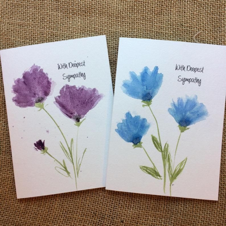 Grief Thank You Thinking of You Card-  Original Painting Birthday Sympathy Watercolour Mothers Day Love Blank Card Hand Painted