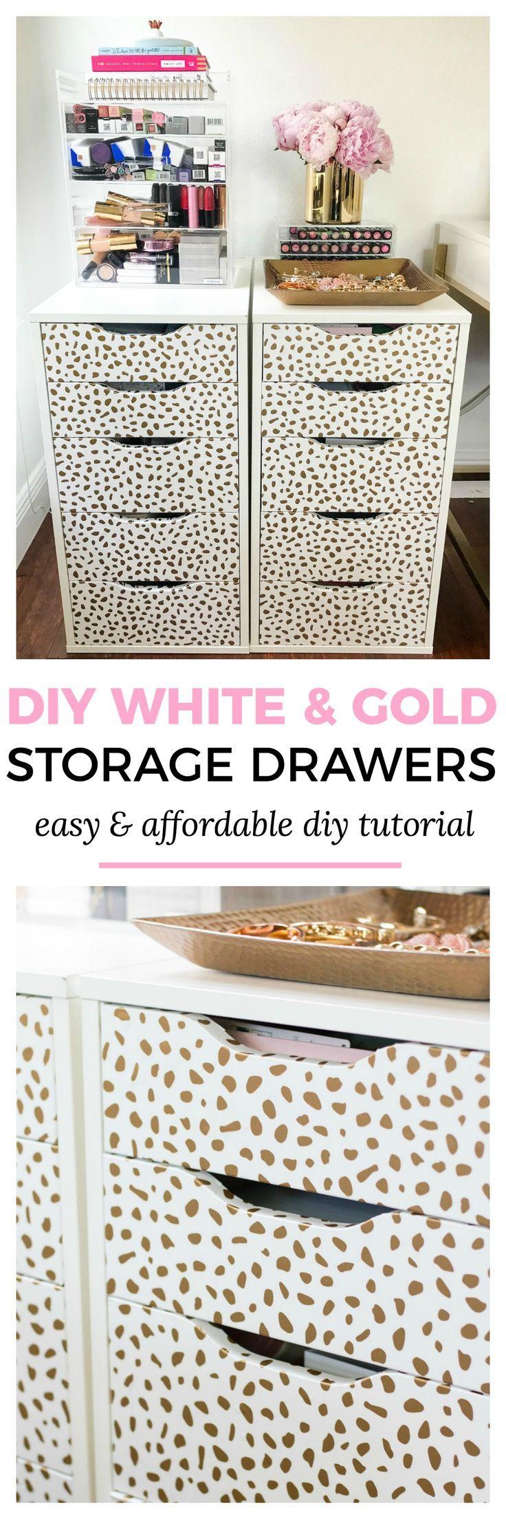 diy home office decor ideas easy. Easy \u0026 Affordable Home Office Decor Ideas   DIY White And Gold Dalmation Print Storage Diy E