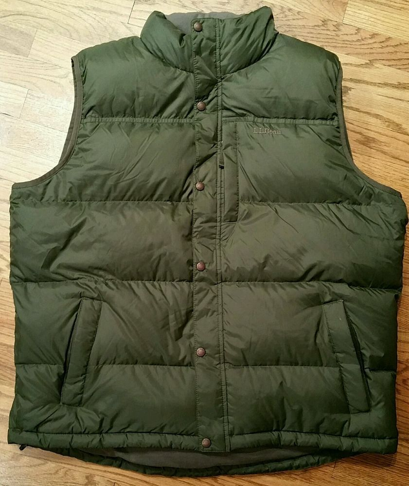 21f00b074d0e8 L. L. Bean Goose Down Vest zip/snap Jacket Men's Tall XXL green hunting  fishing #LLBean #Vest