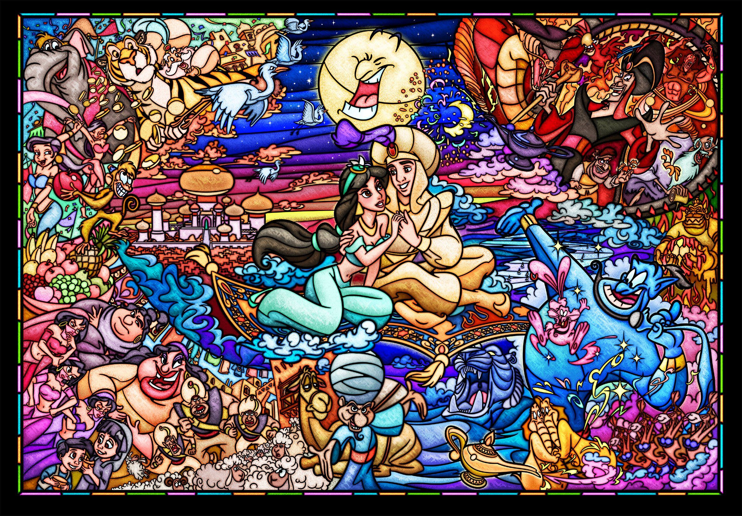 Disney Stained Glass Puzzle.Disney Stained Art Jigsaw Puzzle Disney Stained Glass