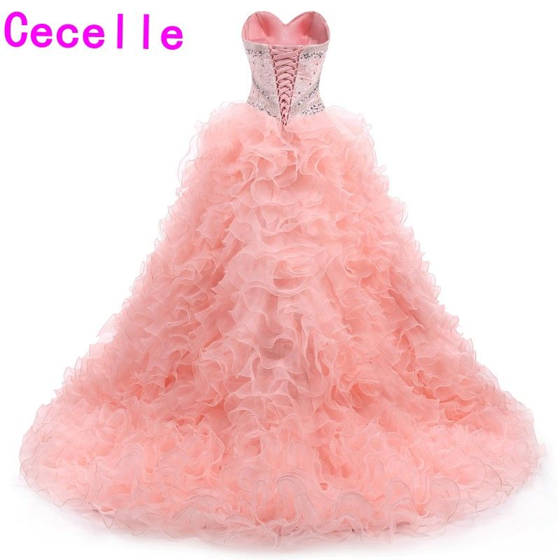 2017 New Ball Gown Coral Prom Dresses Sweetheart Beaded Ruffles ...