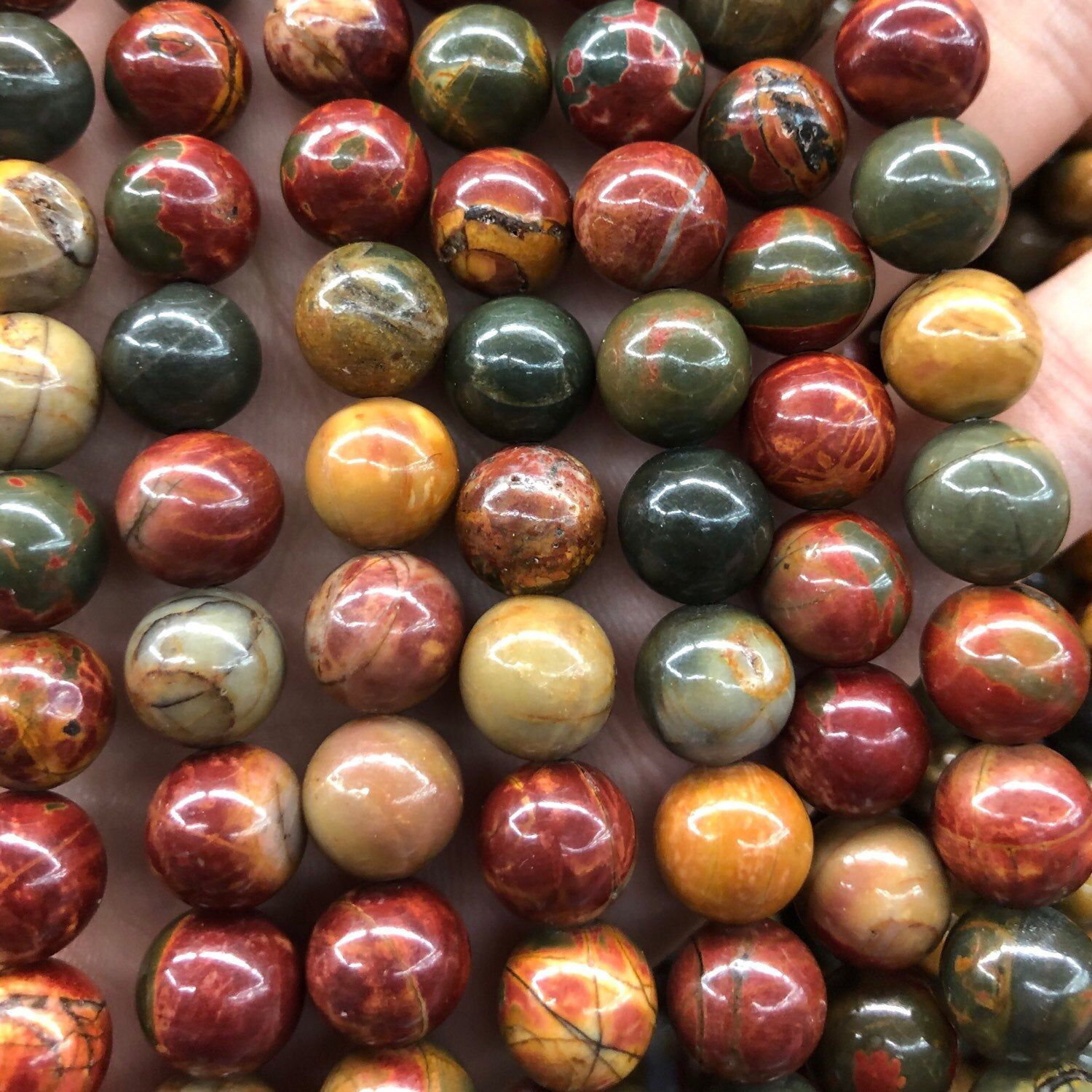 "Wholesale 15/"" Dalmation Jasper Gemstone Loose Spacer Beads Jewelry Making 4-10MM"