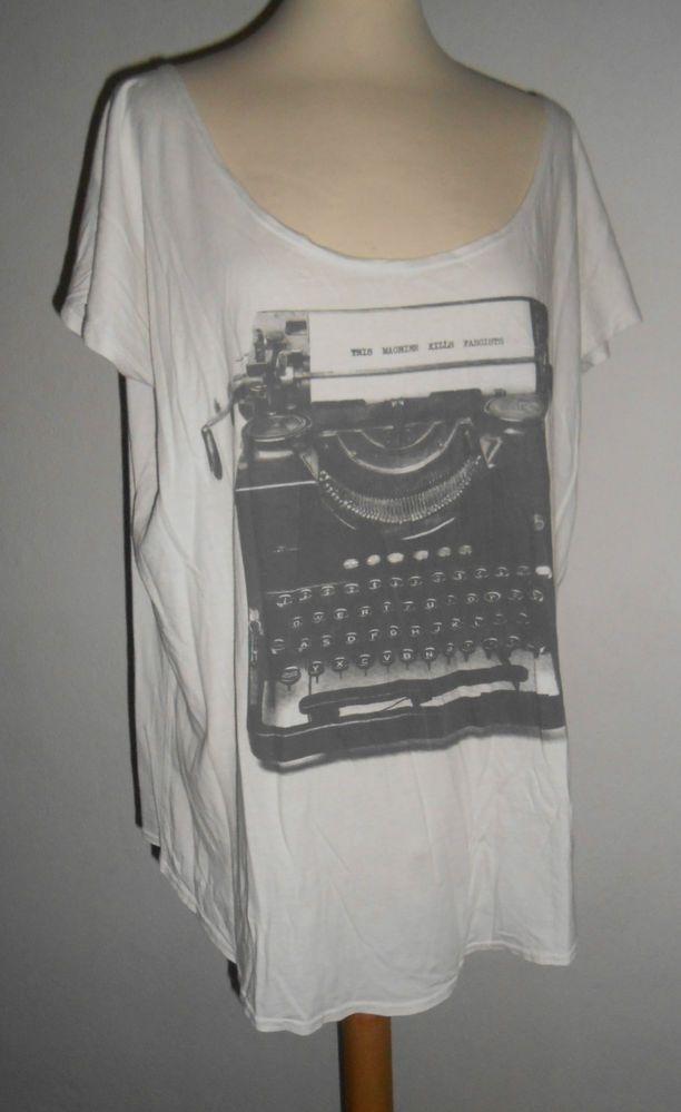 AW 42 Love Nail Tree Ladies Shirt Size L White Print This Machine ...