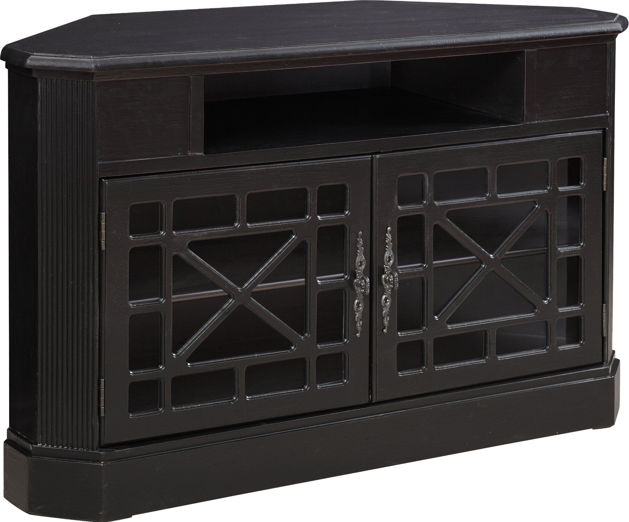 50 Inch Textured Black Corner Tv Stand In 2020 Black Corner Tv