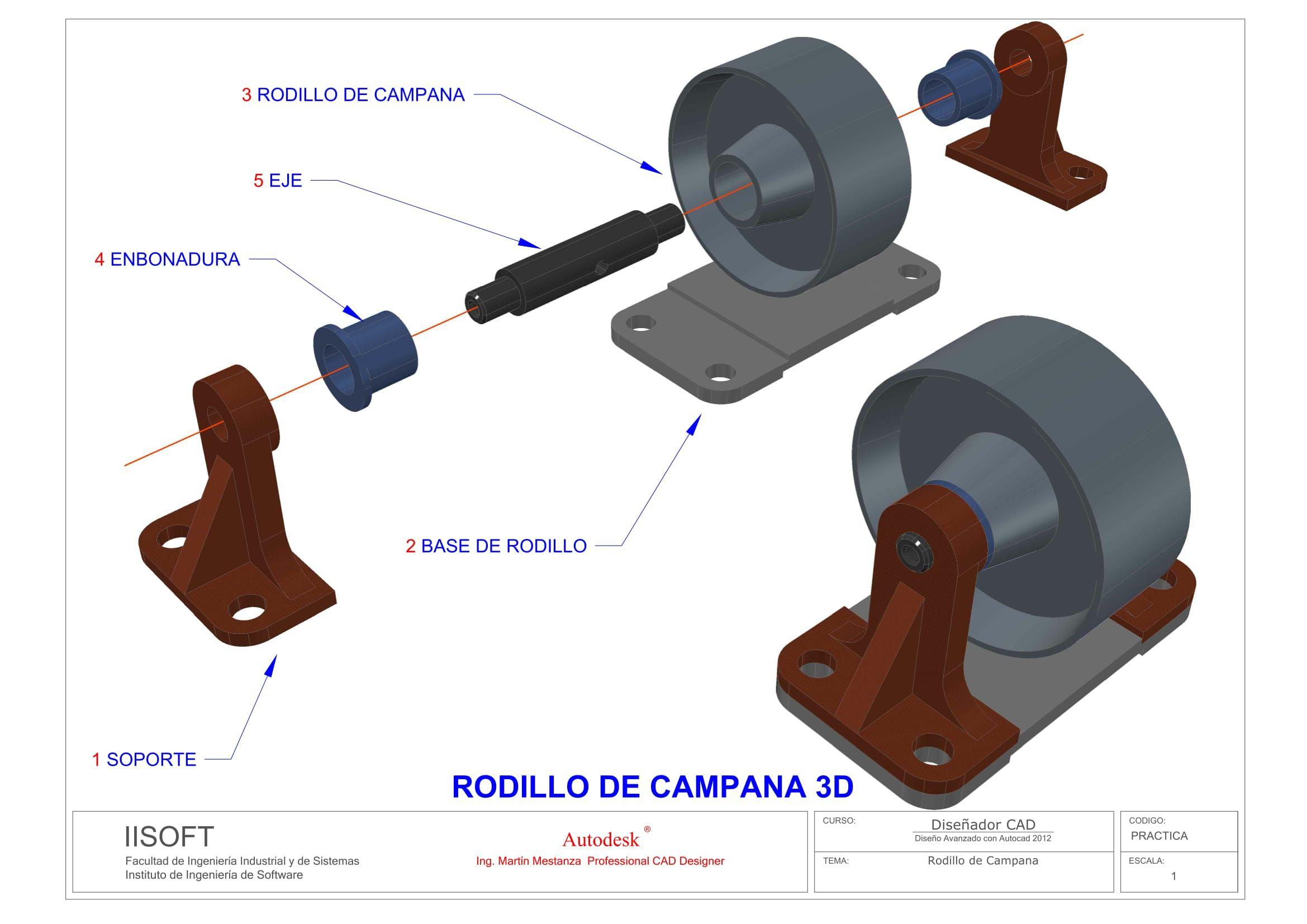 Vista De Conjunto De Rodillo De Campana Ing Martin Mestanza Technical Drawing Solidworks Autocad