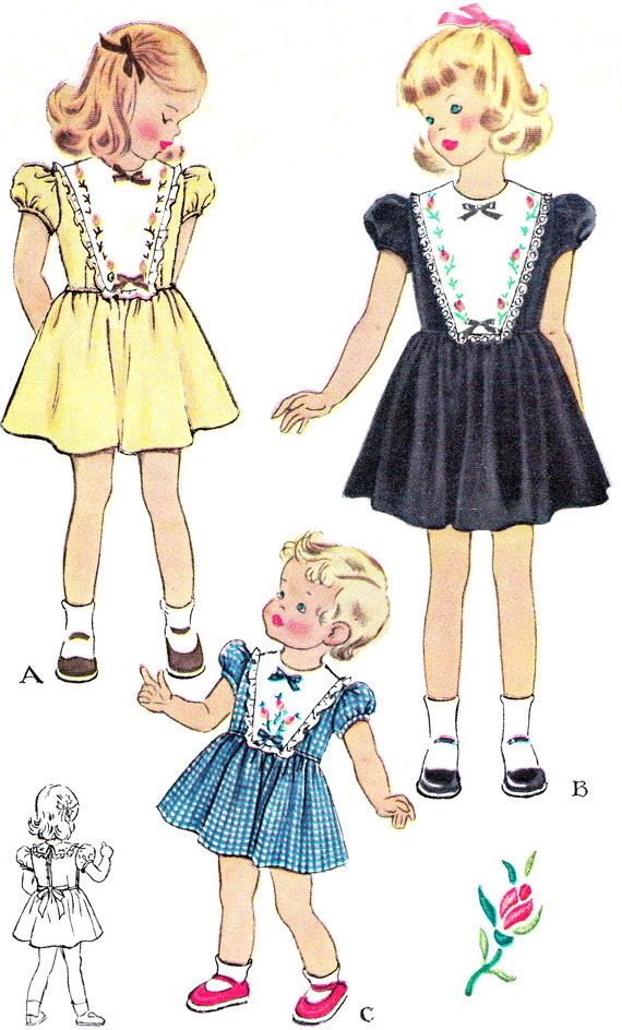 1950s Girls Dress Pattern McCall 1559 Toddler Girls by paneenjerez ...