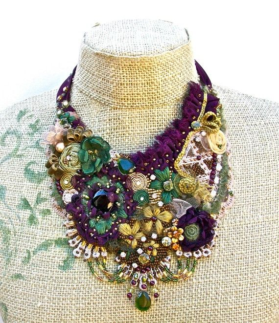 Favorite  Like this item?    Add it to your favorites to revisit it later.  Bohemian Yestreen- embroidered modern heirloom bib necklace, with Vintage rhinestones and findings