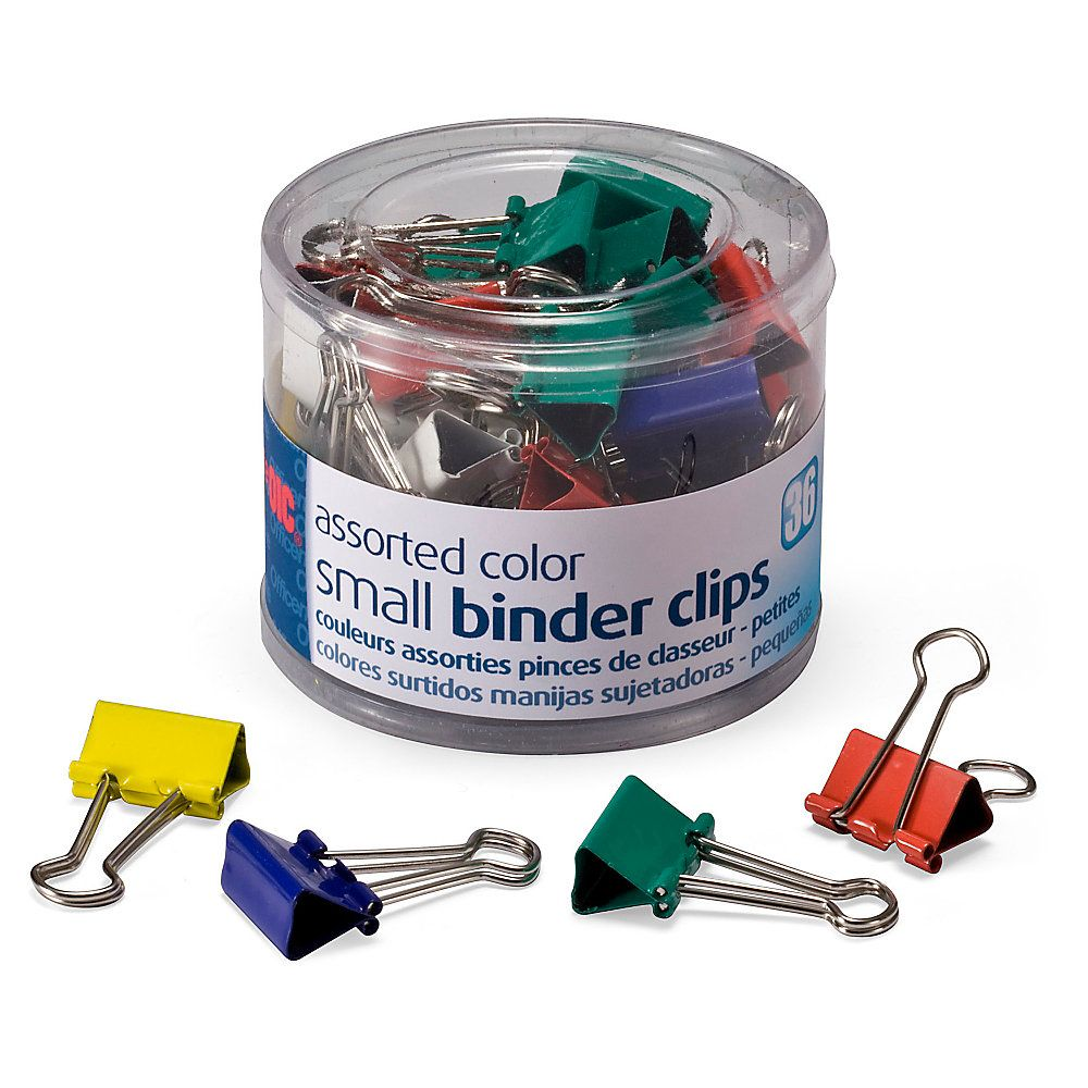 """OIC® Binder Clips Tub, Small Clips, 3/4"""", Assorted Colors"""