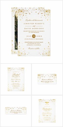 Trendy Gold Confetti Dots Elegant Photo Wedding Invitation Suite