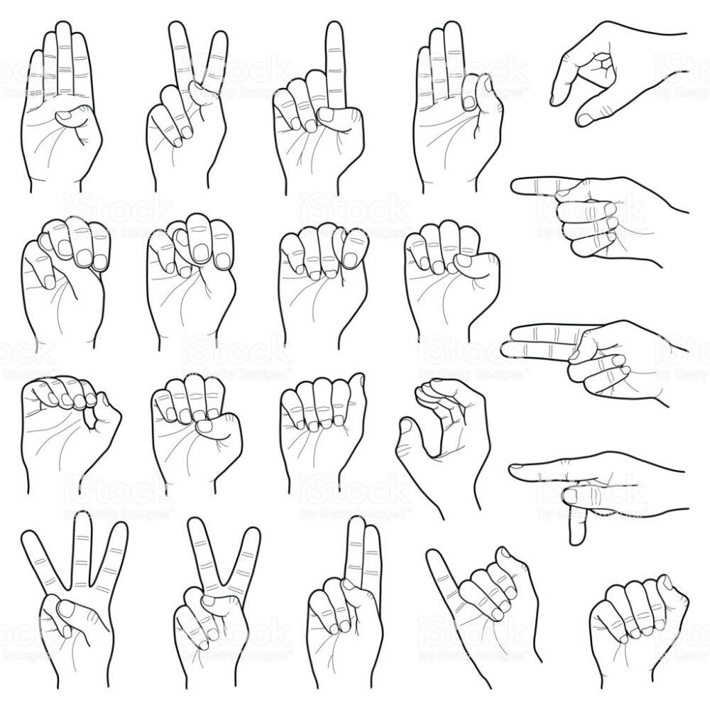 Hand sign language collection vector line illustration