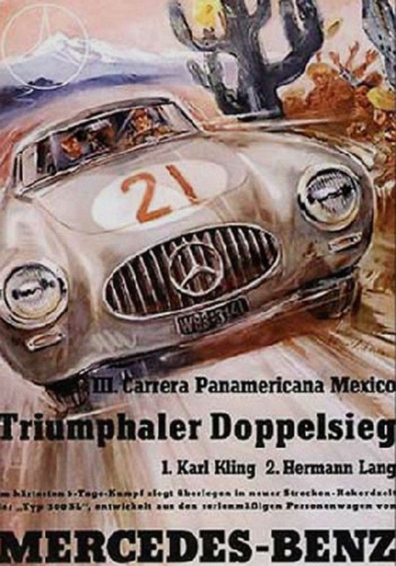 Panamericana 1952 just love vintage posters home ideas for Mercedes benz poster