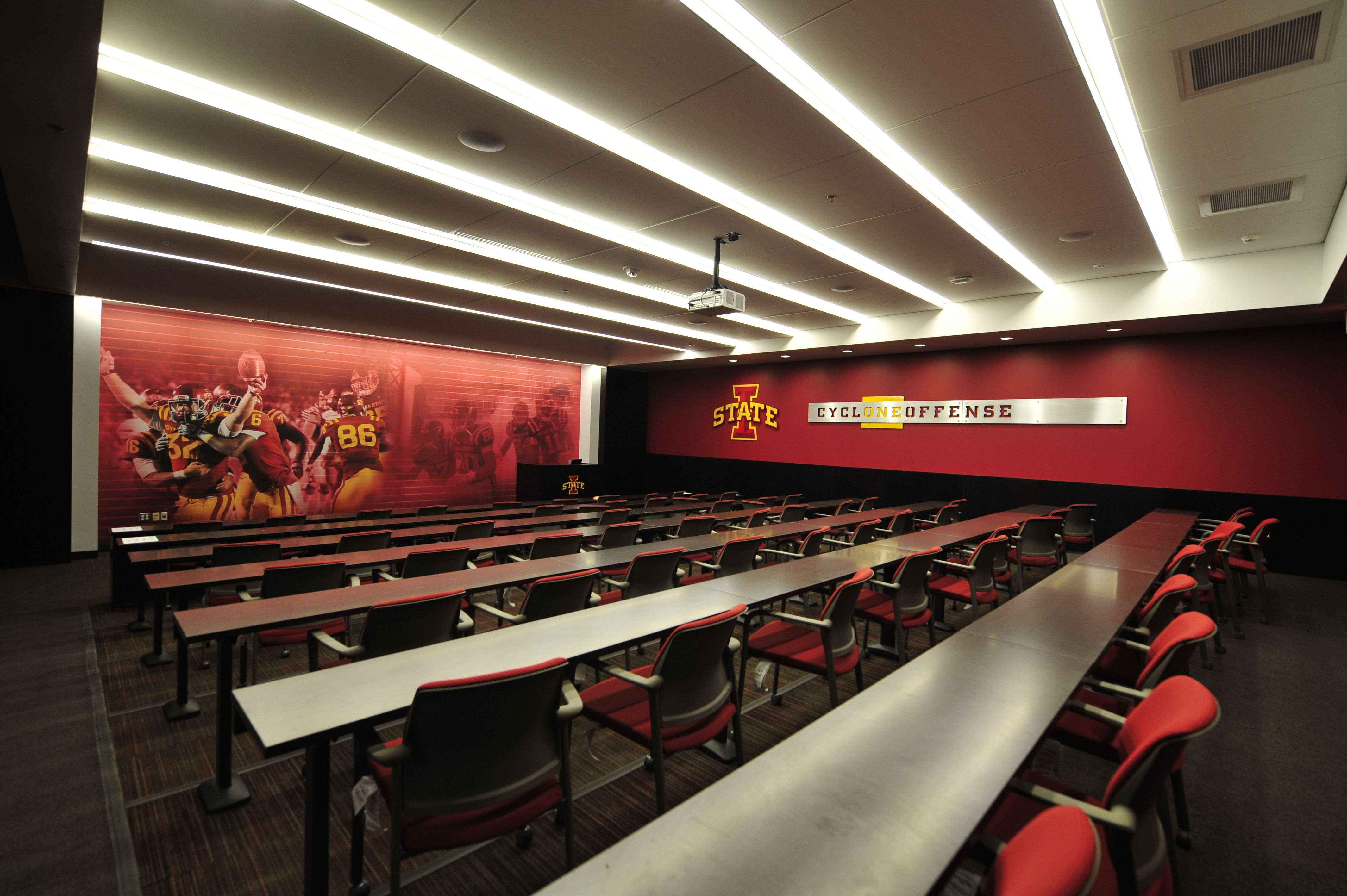 A Peek Inside Of A Football Meeting Room At The Bergstrom Football Complex Cyclones Meeting Room Iowa State Home Decor