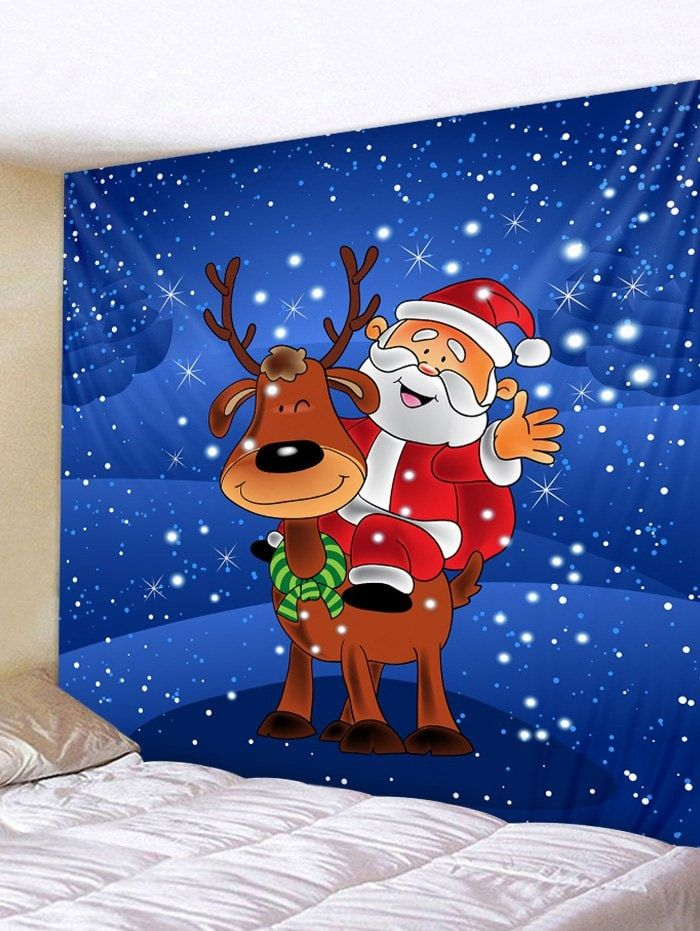 father christmas elk print tapestry art decoration on walls coveralls website id=39889