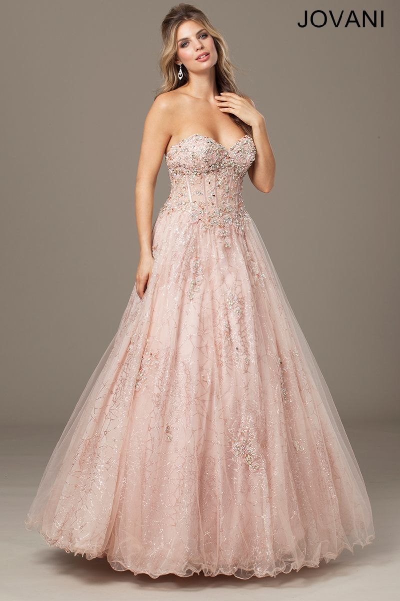 Light Pink Strapless Ballgown Evening Dresses | Color My World ...