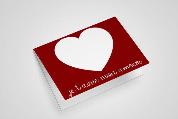 Je Taime Mon Amour Love Card Heart Card Valentines Card