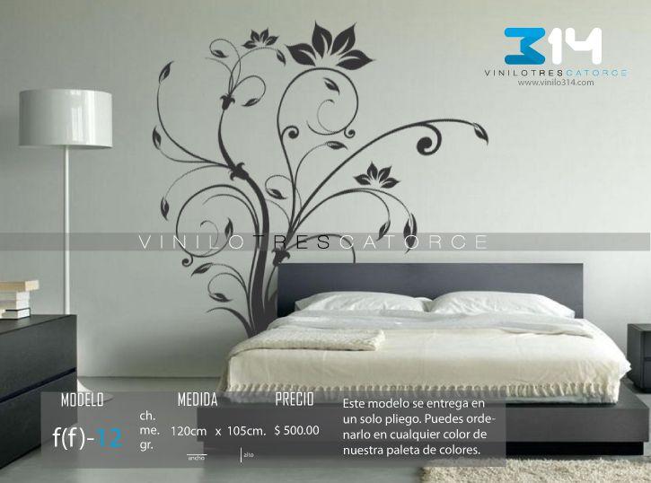 Vinilo 3 14 vinilos decorativos florales flor greca - Vinilos de decoracion paredes ...