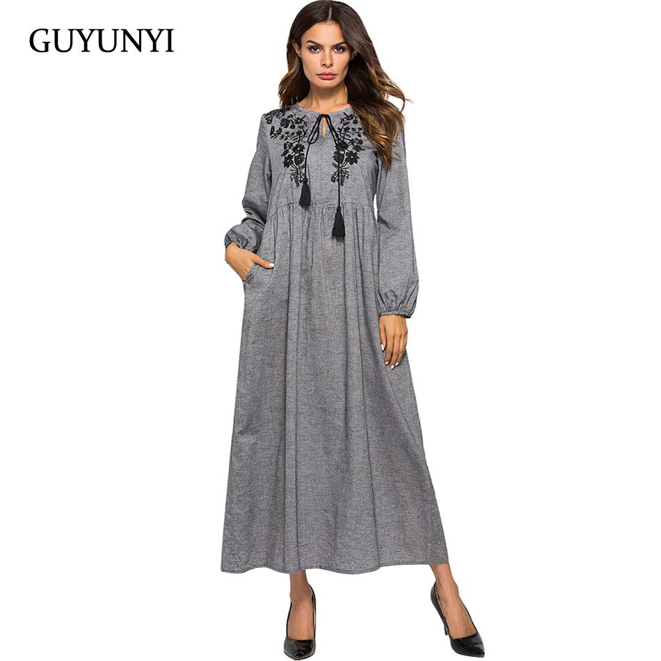GUYUNYI Women's Dress Casual Floral Embroidery Round Neck