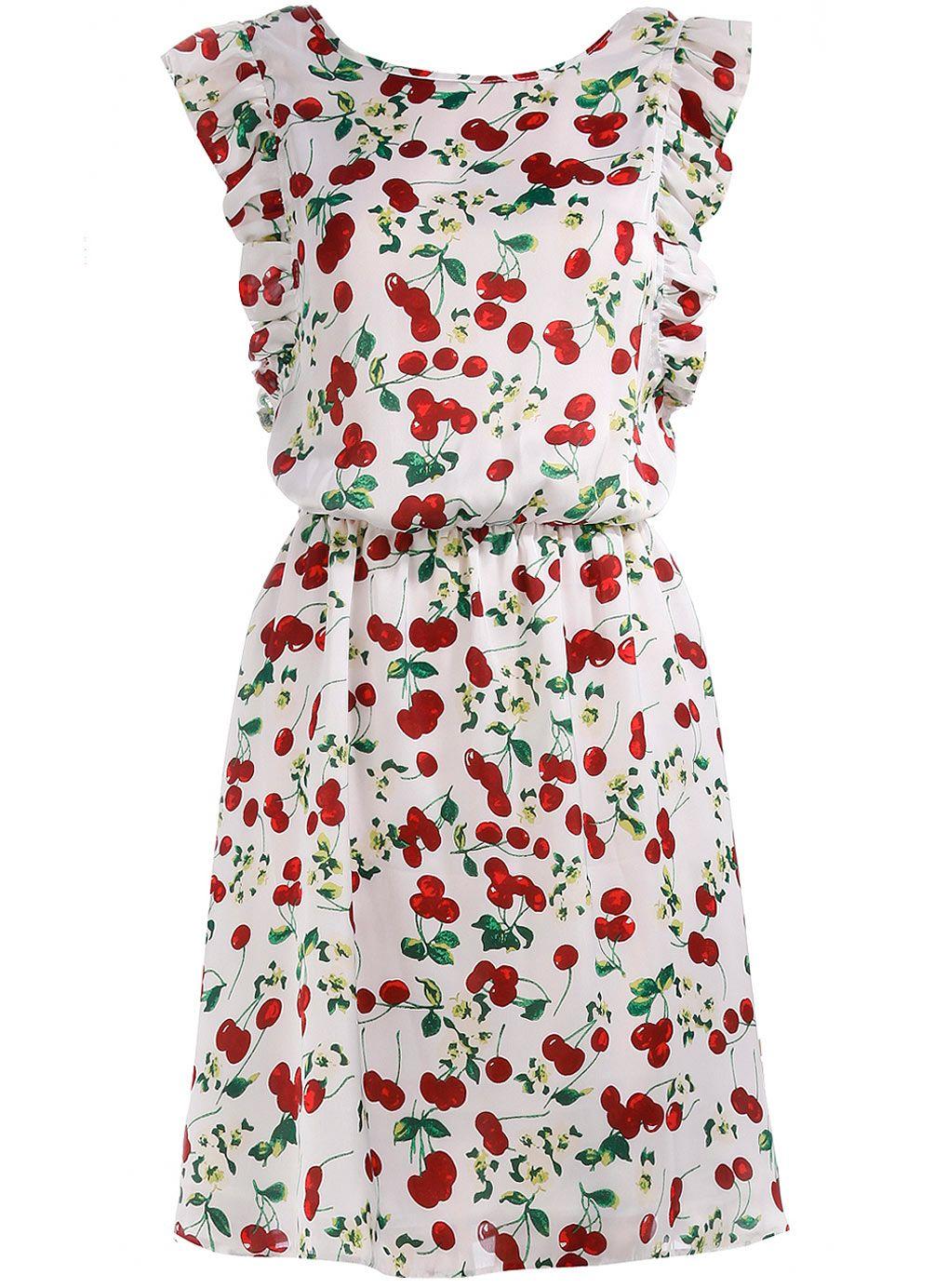 Pin By Maureen Elizabeth On Cherries Cherry Print Dress Cherry Dress Frill Dress [ 1384 x 1019 Pixel ]