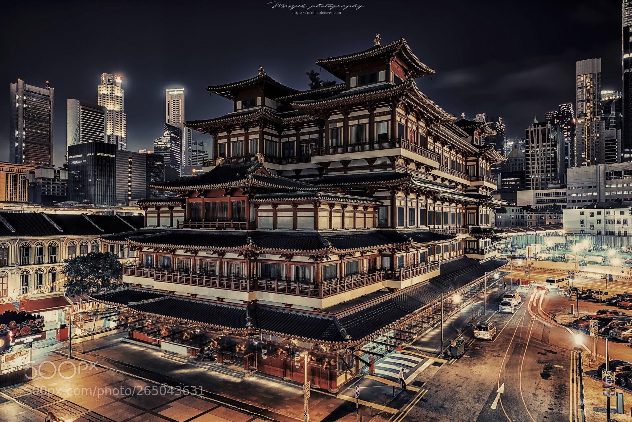 Singapore By Night By Manjik Holzbilder Bilder Leinwandbilder