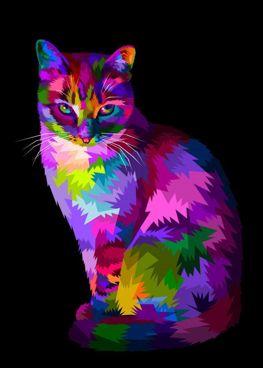 'colorful cool cat sitting ' Metal Poster Print – peri priatna | Displate