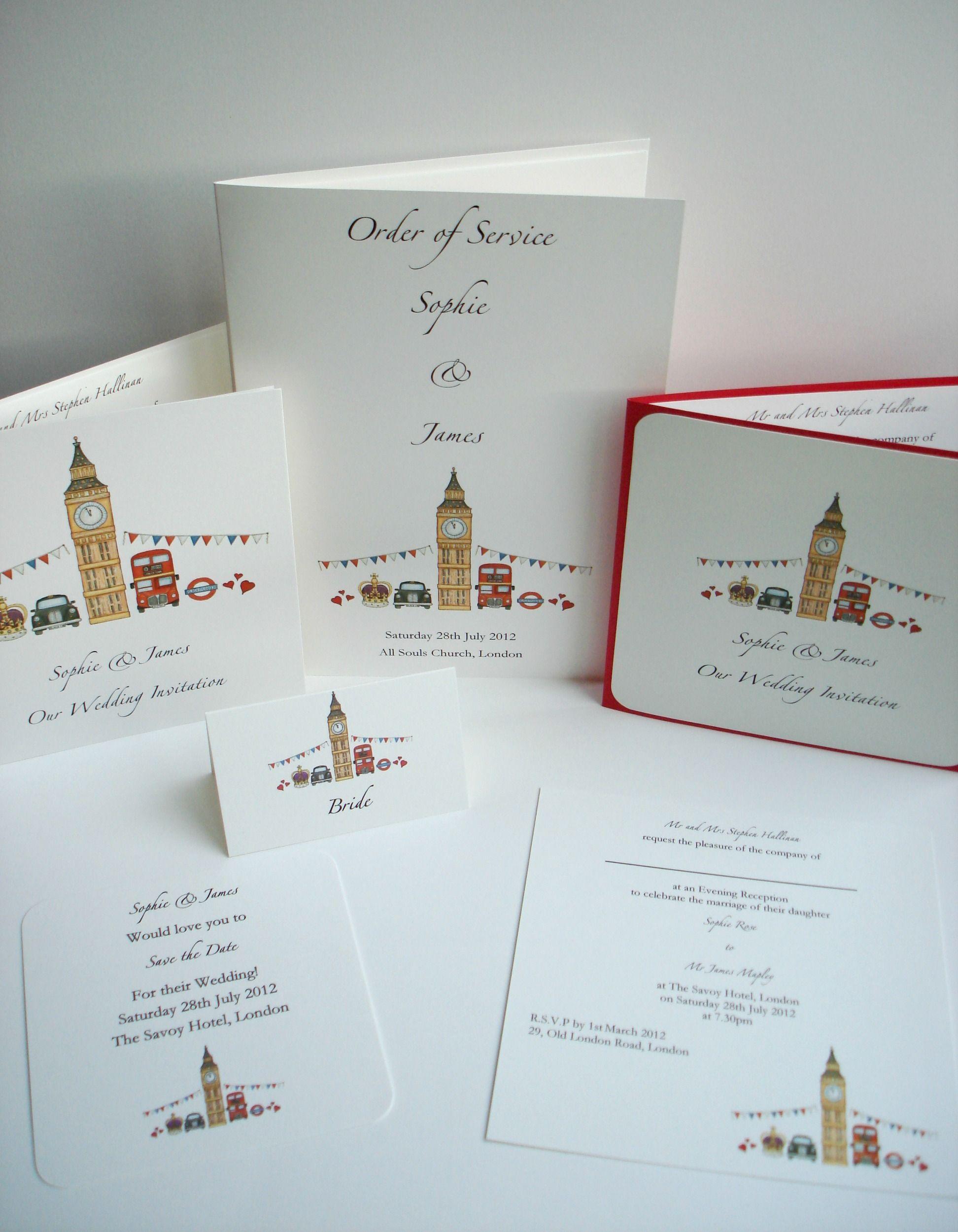 London Theme Wedding Stationery www.beadazzledesigns.co.uk | London ...