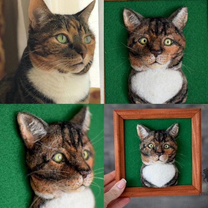 Needle felt cat portrait in frame needle felting animals