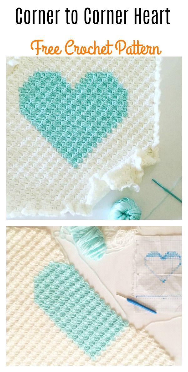 Corner to Corner Heart Blanket Free Crochet Pattern   Tejido, Manta ...