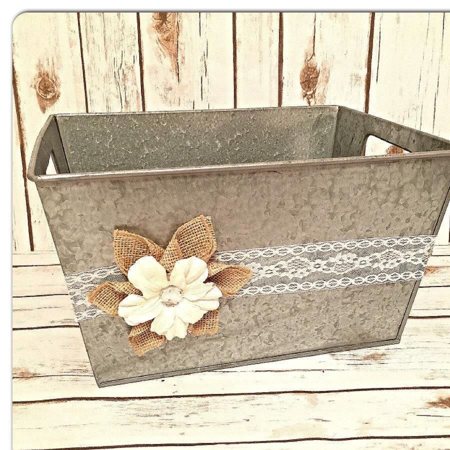 Country Wedding Gift Ideas: Rustic Wedding Card Basket, Country Chic Card Basket, Card