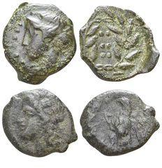 Lotto 2 Monete Mondo Greco: Sicilia. Himera. 420-408 a.C. Emilitra. AE // Sicilia Siracusa - Hiketas. 288-279 a.C.