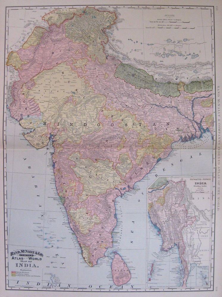 1894 antique india map original poster print size vintage map of 1894 antique india map original poster print size vintage map of india 4434 gumiabroncs Choice Image