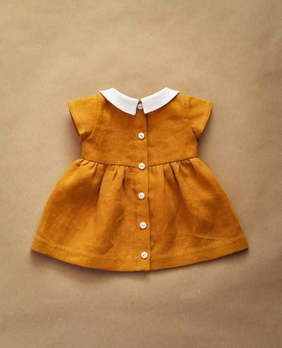 Leinenkleid Baby Kleid Peter Pan Kragen Senf Leinen #babydresses