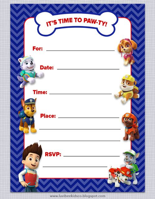 Luvibee Kids Company Paw Patrol Birthday Invitations Free Printables