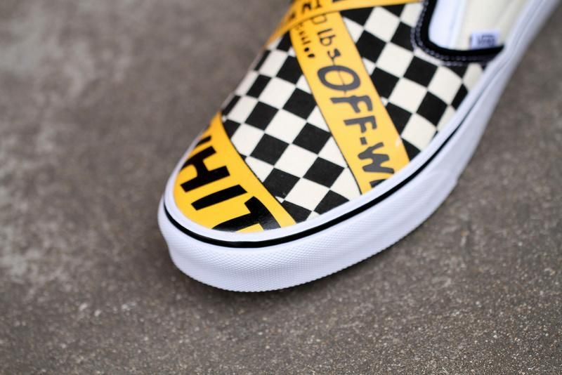 7949ebe09d2 Vans USA.AMAC Customs CheckerBoard Slip-On Classic Yellow Black White  Womens Shoes  Vans