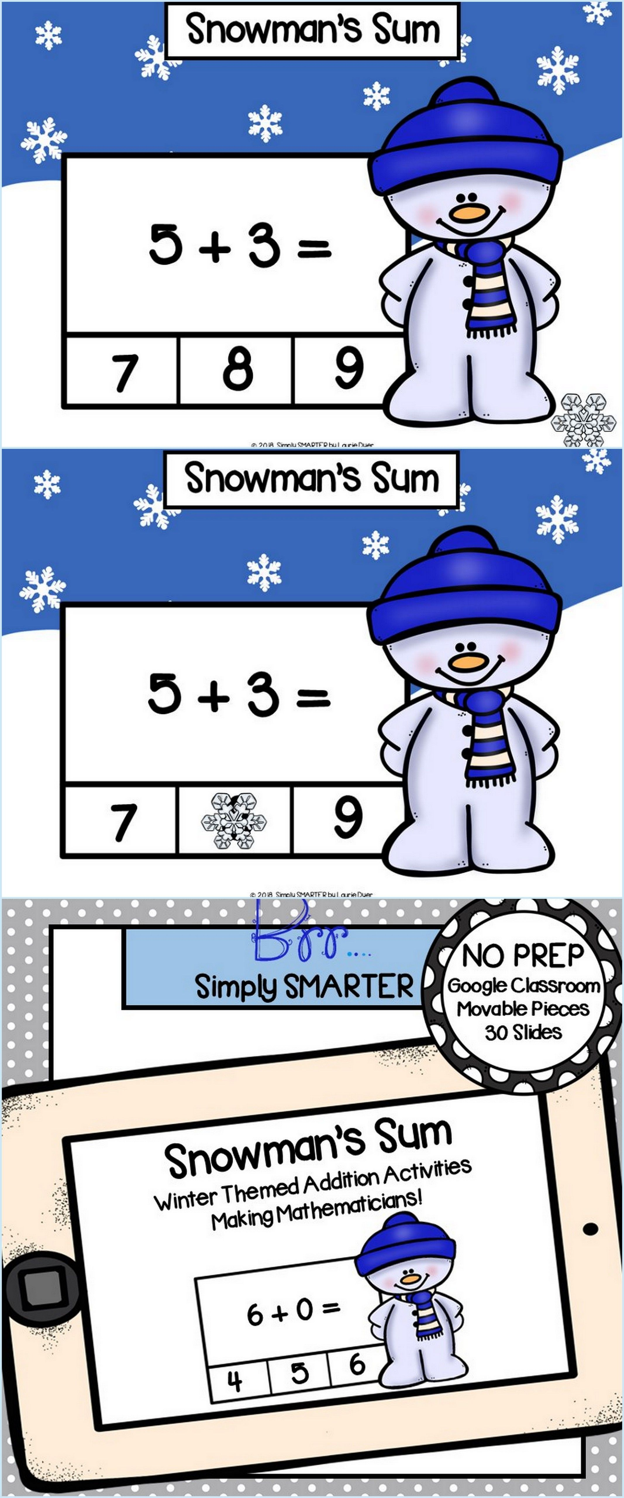 Winter Themed Addition Activities For Classroom