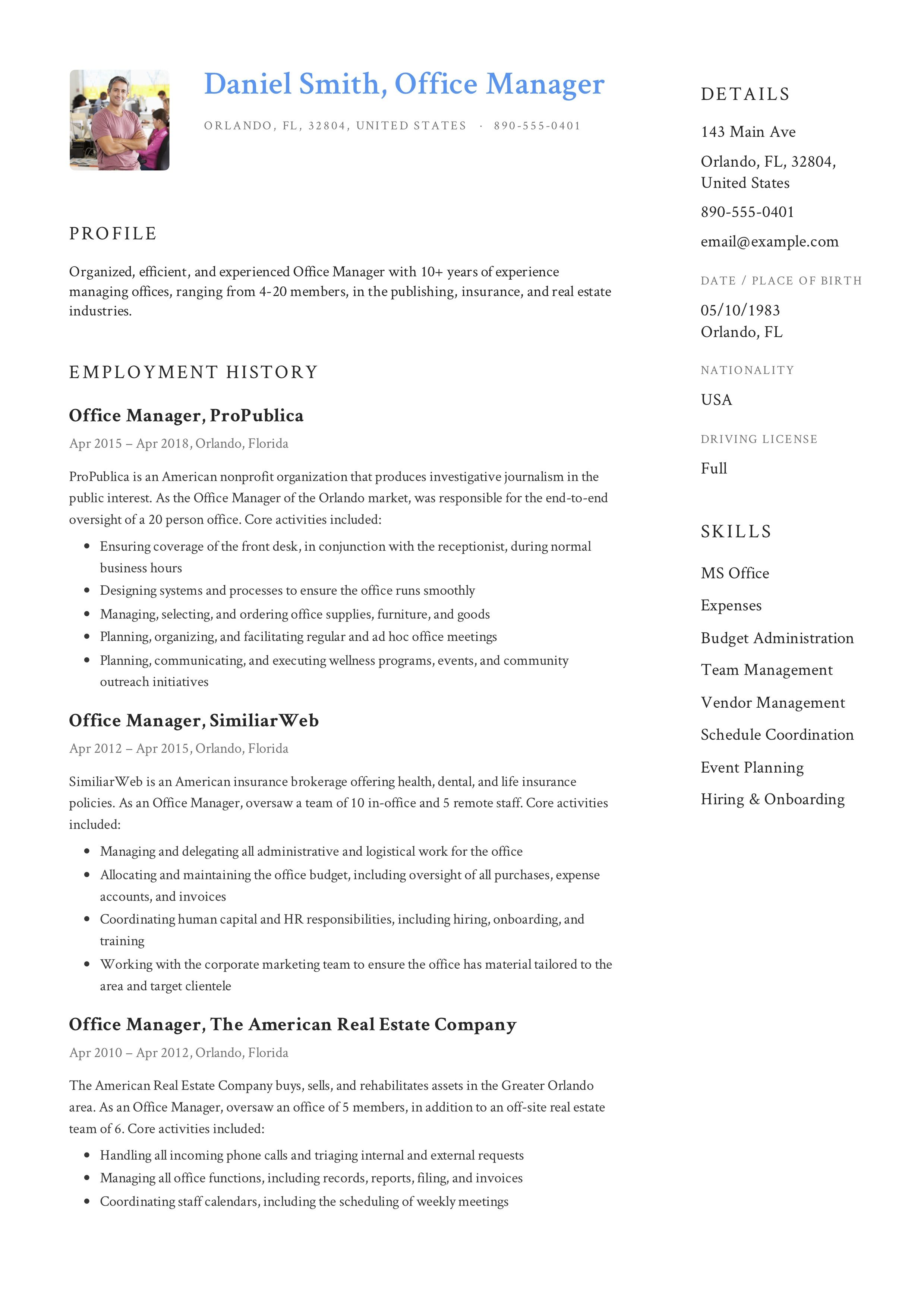 Free Office Manager Resume Sample Template Example CV Formal Design