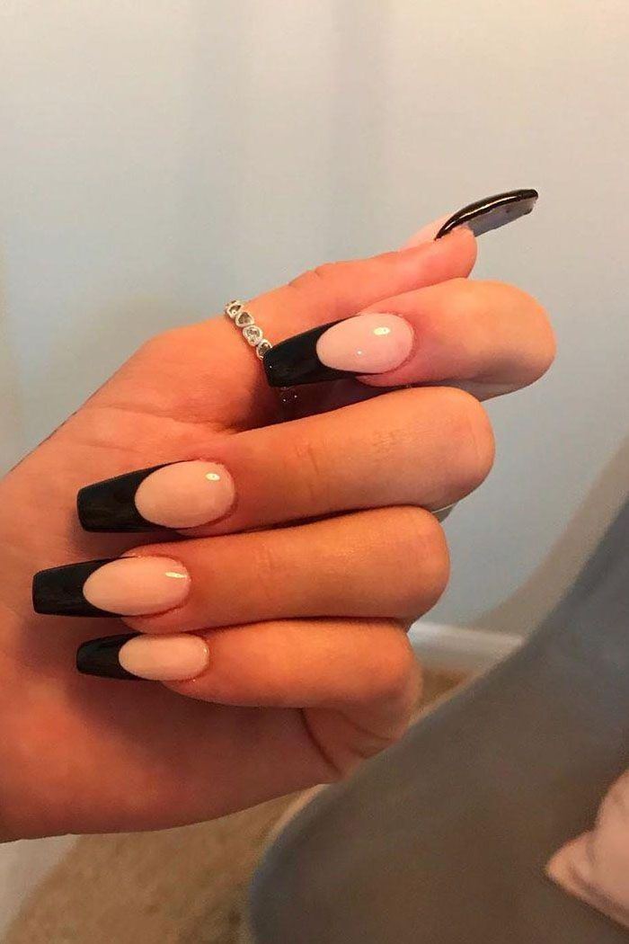 55 Trendy Black French Tip Nails You Will Love In 2020 French Tip Acrylic Nails French Tip Gel Nails Colored Nail Tips