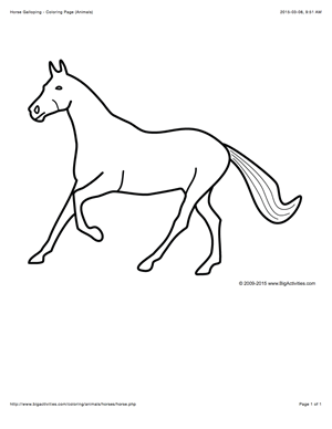 Animal coloring page with a picture of a horse galloping ...