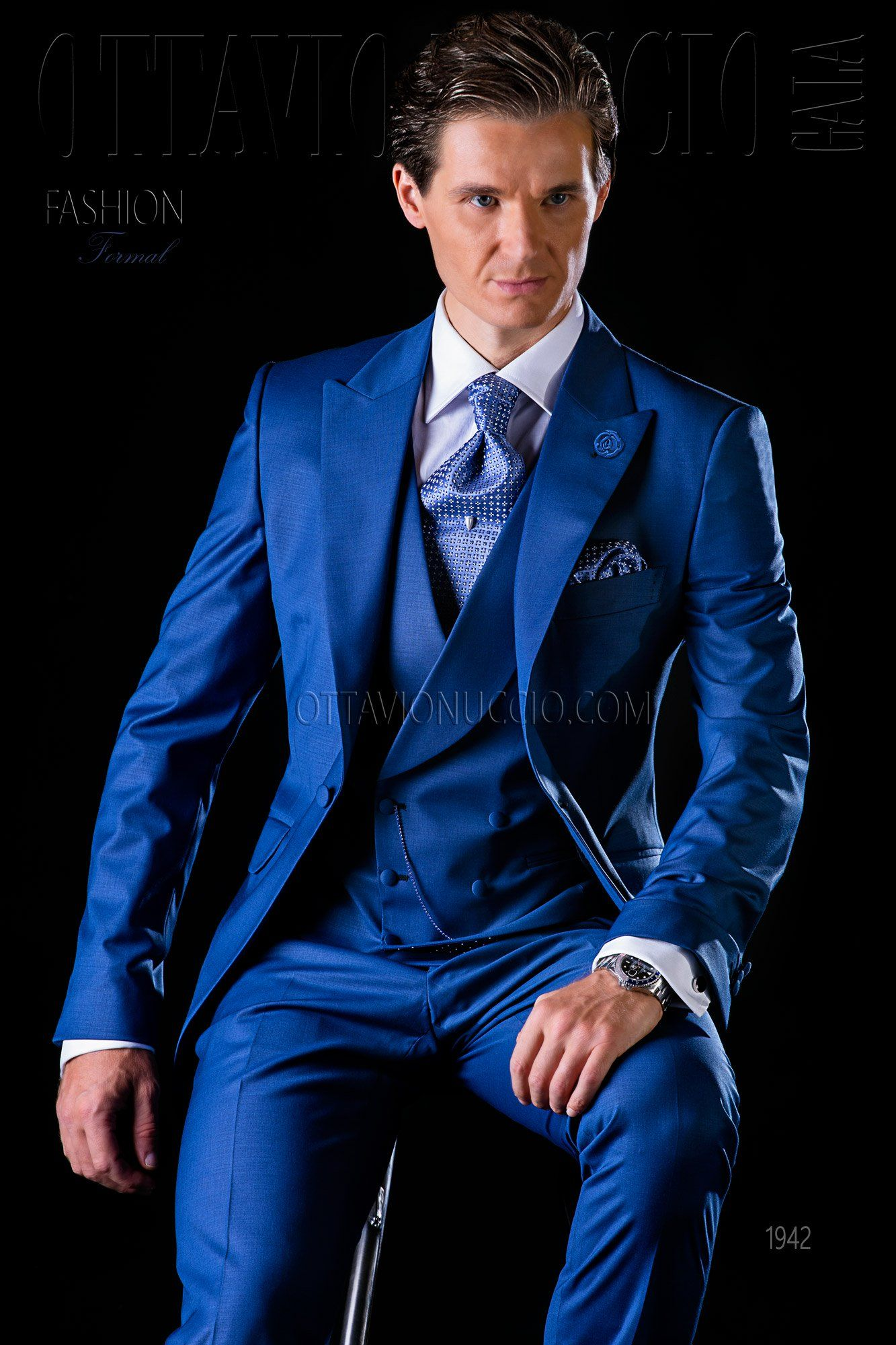 Royal blue three piece groom suit wedding - tuxedo - formalwear ...