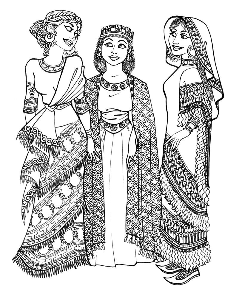 ancient greek clothing coloring pages | Ancient_Assyrian_Girls_by_Scargut_the_Gutless | my henna ...