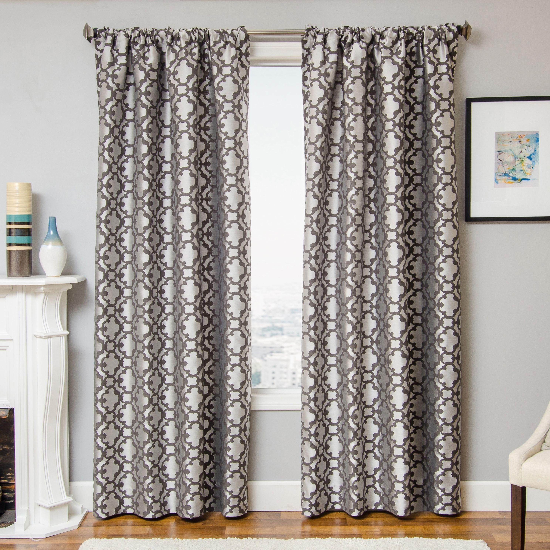 Peyton 96 Jacquard Tile Panel Curtain Pewter Curtains Panel