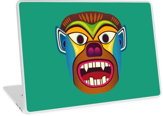 Laptop skin of gorilla ethnic mask