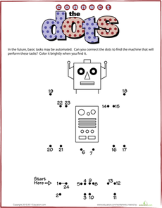 connect the dots robot robot worksheets and preschool themes. Black Bedroom Furniture Sets. Home Design Ideas