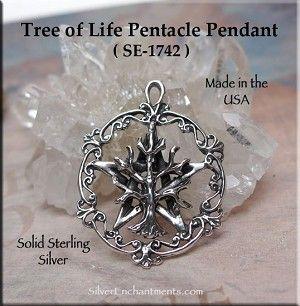Sterling Silver Tree of Life Pentacle Pendant