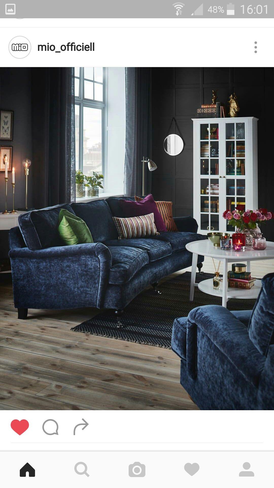 soffa blå mio vardagsrum Interior indoor in 2019 Soffa vardagsrum inspiration, Vardagsrum