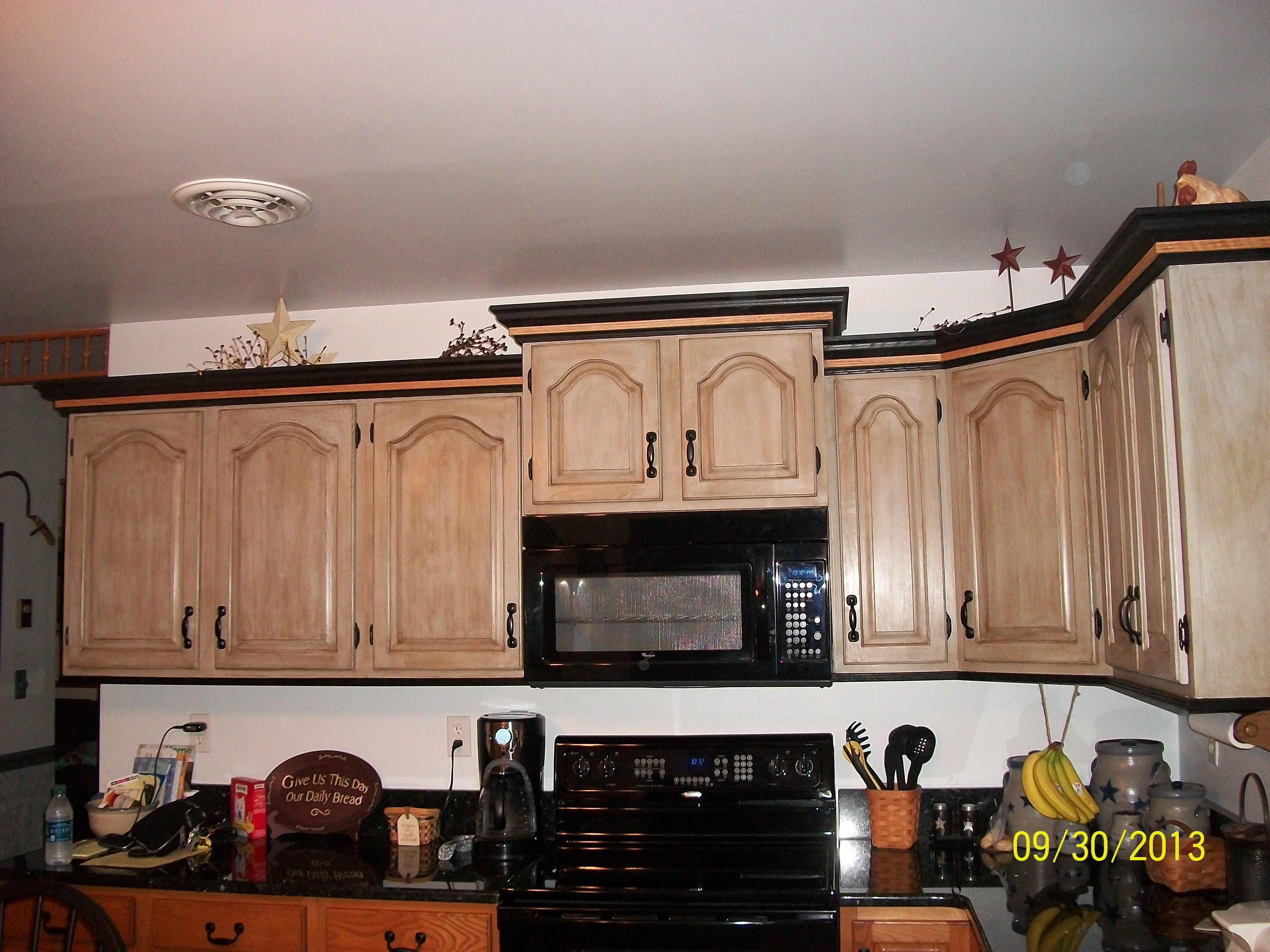 Cabinet doors with one coat of Anne Sloan Paris Gray, one ...