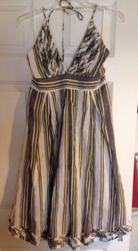 fdaf666ffc J.Crew Navy, White, And Yellow Striped Halter Sundress - Size 8 ...