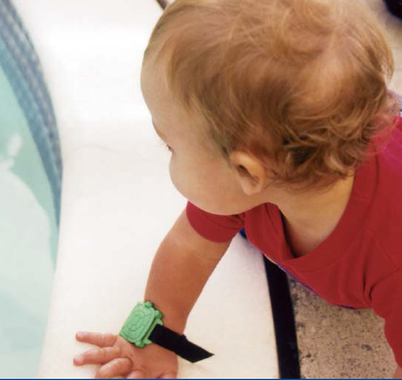 The Blue Safety Turtle Wristband is a waterproof pool alarm system ...