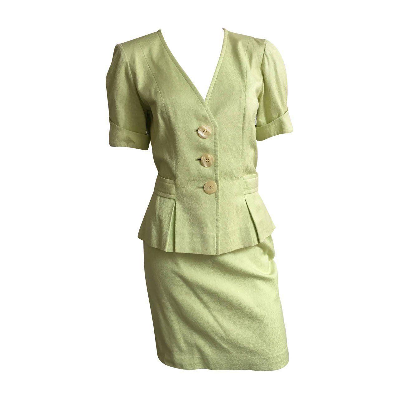 5f85b97e71 Yves Saint Laurent 80s Cotton Skirt Suit Size 6