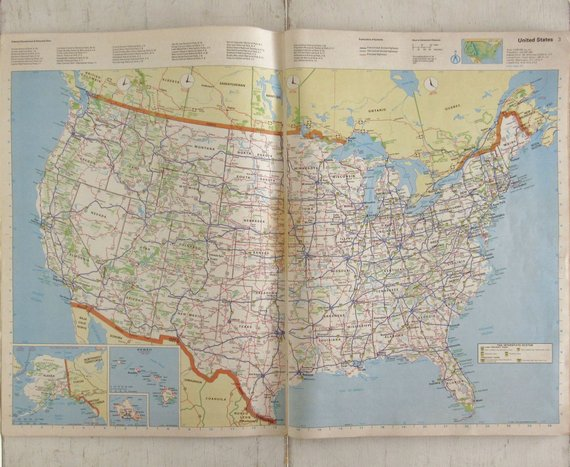 US Road Atlas - 1980s Large Road Map Book - Allstate Vintage ...