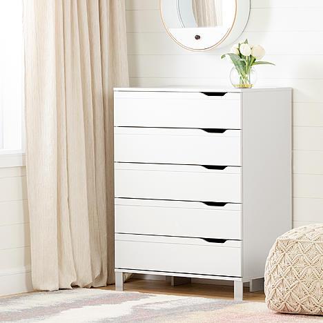 South Shore Kanagane 5 Drawer Chest Storage Unit Pure White In 2020 White Chest Of Drawers 5 Drawer Chest Furniture